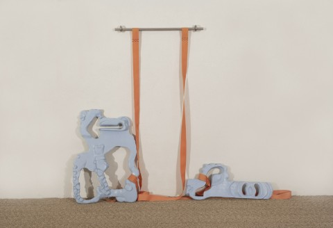 Kittyfat (Light blue),| 2004, 72 x 53 x 5 cm, polyester resin, aluminum pipes, cloth